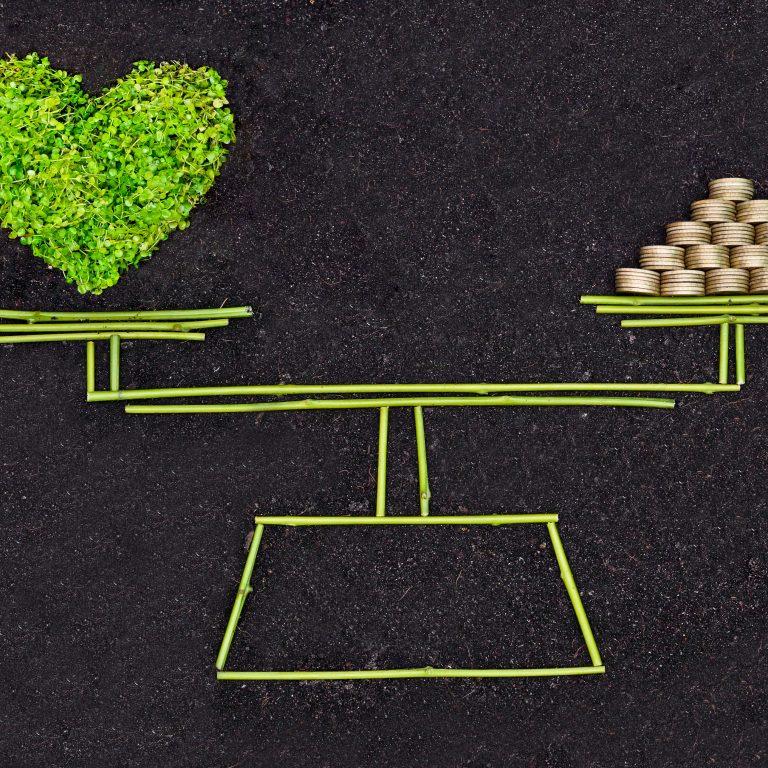 Vaa'alla tasapainoilevat raha ja vihreä sydän