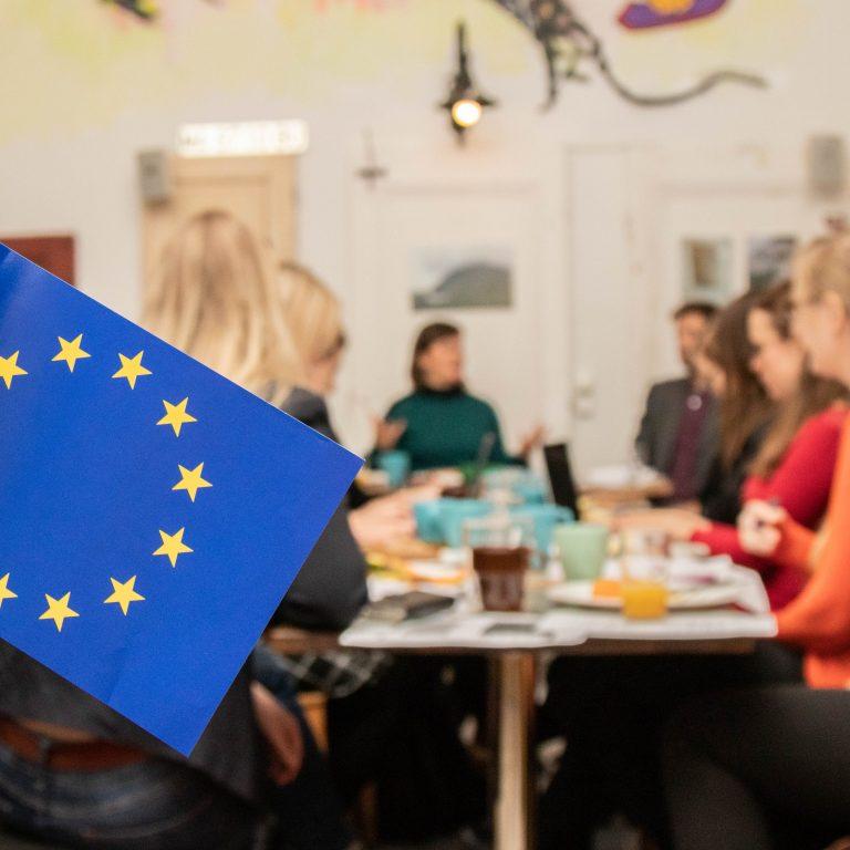 Kuvassa on kaksi pientä EU-lippua ja taustalla ihmisiä pöydän ympärillä.