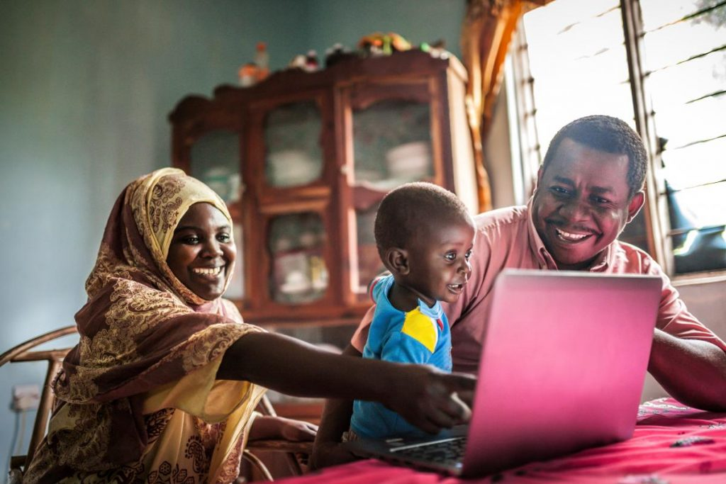 African family on a laptop.