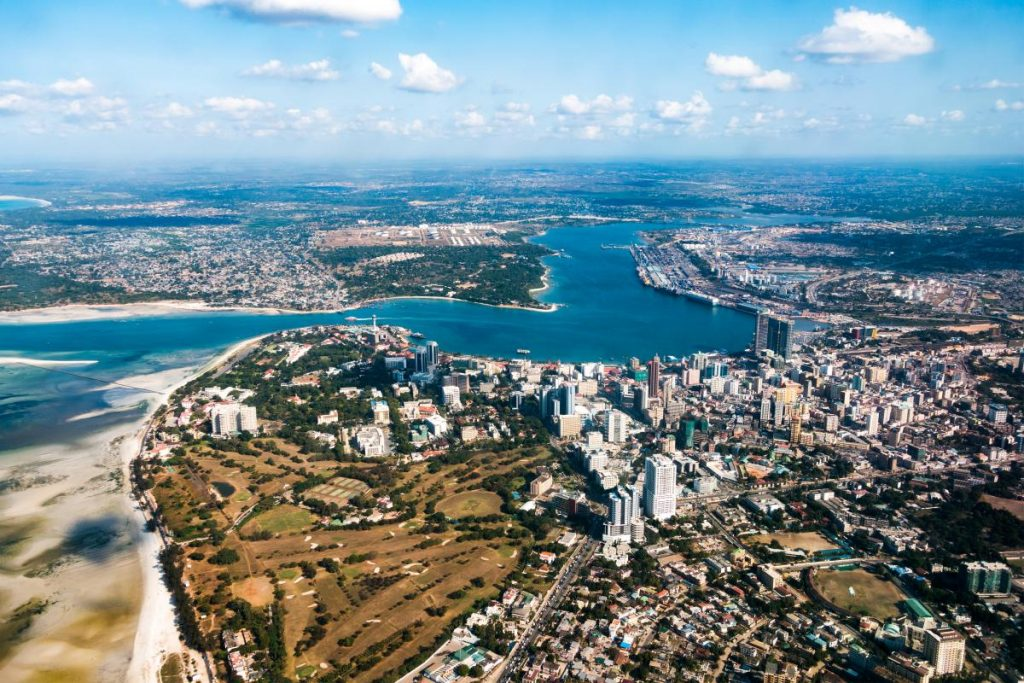 High angle view over the city of Dar es Salaam in Tanzania