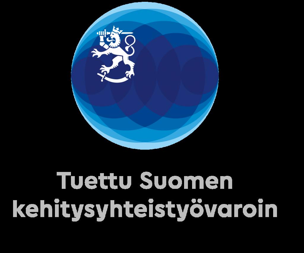 Ulkoministeriön logo, joka kertoo, että työtä tuetaan Suomen kehitysyhteistyövaroin